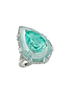 Bogh Art. White gold, inlaid Paraiba tourmaline & diamond ring...♡