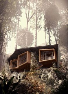 Bukit Lawang Lodge inspired formally by orangutan nests from an orangutan sanctuary on the adjacent site in Indonesia by Foster Lomas Architects