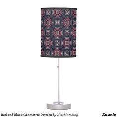 Red and Black Geometric Pattern Desk Lamp