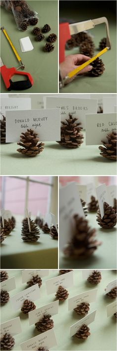 pine cone escort cards. I don't exactly know how to categorize this, but for now, we'll put it here. It could be cute for a wedding... or a tea... or a brunch... or some other type of fancy dinner party. If we don't end up getting married in November this definitely would do glitter pine cones for a winter wedding