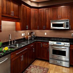 Kitchen Wall Colors With Cherry Cabinets, dark counter tops