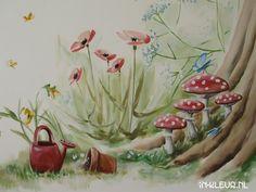 muurschildering babykamer paddestoel bloemen