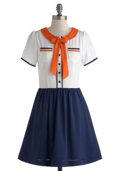 Seeing The Sights Dress - Mid-length, Orange, Blue, White, Buttons, Pockets, Tie Neck, Casual, A-line, Short Sleeves, Crew, Nautical, Spring