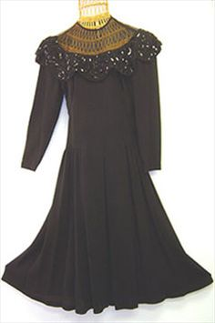 Black Crepe 40s Vintage Dress by Nelda's Vintage Clothing