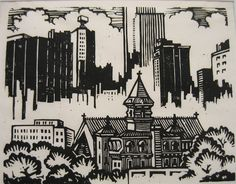 St. Patrick's Cathedral in the City - Fine Lino Cut Block Print by Dessauer 1970
