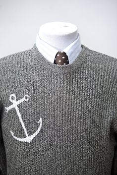 Sweater with Screen Printed Anchor