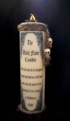Home made Hocus Pocus Black Flame Candle. The top is a battery operated tea…