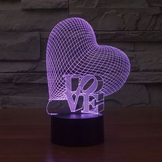 Foreign trade new heart LOVE colorful 3D light touch switch lamp lamp LED gradient visual illusion acrylic lamp