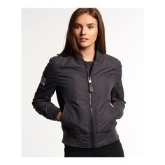 Superdry RSD Lite Pilot Jacket ($149) ❤ liked on Polyvore featuring outerwear, jackets, black, diamond jackets, superdry jacket, embroidered jacket, pocket jacket and zipper jacket