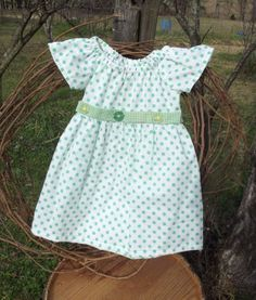 Baby Girl Peasant Dress size 2  green polka dot by SouthernSister2, $20.00