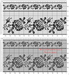 Border with roses for crochet filet curtains free download