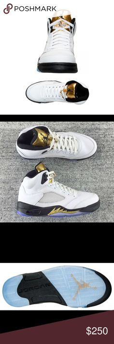 """Olympic"""" Air Jordan 5 highlighted by its metallic ‼️Get a closer look at the """"Olympic"""" Air Jordan 5 that is highlighted by its Metallic Gold Coin tongue. Just came in !! August 20 ,2016  and will be available at select Jordan Brand retail stores worldwide. These 5S Are about supporting everyone in the olympics gold medal Winners ‼️‼️ Get them while they last !! 110% Authentic . Any questions or pictures feel free to ask . Jordan Shoes Sneakers"""