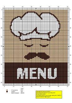 cuisine - kitchen - menu chef - point de croix-cross stitch - broderie-embroidery- Blog : http://broderiemimie44.canalblog.com/
