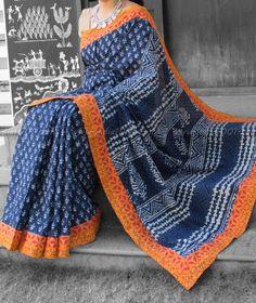 Beautiful Dabu Block Printed Mul Cotton Saree with Stitched borders