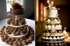 Let Your Wedding Cake be Something Different. Here are 20 Cupcake Wedding Cakes Rustic Wedding Foods, Unique Wedding Cakes, Beautiful Wedding Cakes, Wedding Cakes With Cupcakes, Fun Cupcakes, Cupcake Wedding, Cupcake Tier, Cupcake Cakes, Cupcake Ideas