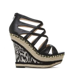 Goldie black wedges with a pop of animal print - ShoeDazzle