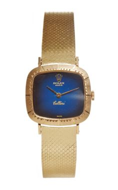 18K Yellow Gold Ladies' Rolex With Cellini Blue Vinette Dial by Fourtané Rolex for Preorder on Moda Operandi