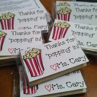 popcorn and note to send home with parents/kids at open house!