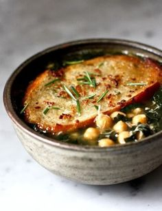 Kale, Chickpea & Chicken Soup with Rosemary Croutons http://fabulishliving.blogspot.ca/2012/11/kale-white-bean-and-potato-soup.html
