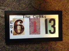 bridal shower gift for my sister in law with wedding date numbers in frame and chipboard letters ;)
