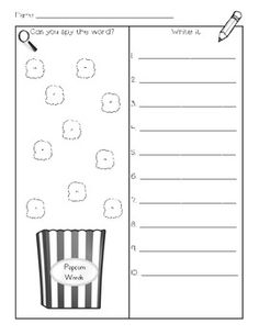 Use a magnifying glass to see the words on the popcorn kernels. Then record the words on the lines.