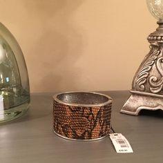 The Limited Brown Silver Snake Print Bracelet