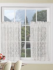 Chf & You Crochet Tailored Tier Curtain Panel Set Of 2  Walmart Fair White Kitchen Curtains Design Inspiration