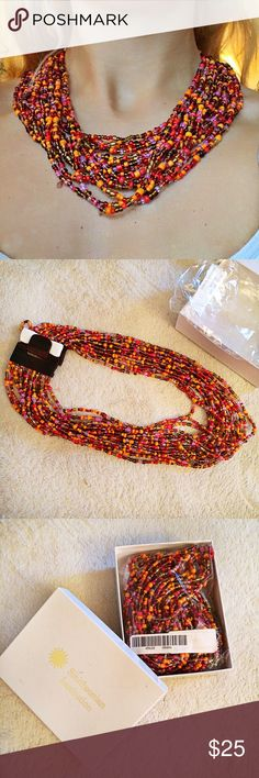 "Orange Beads Necklace!  Brand new, in the box!  Measures approx: 22"". Smithsonian Institution Jewelry Necklaces"