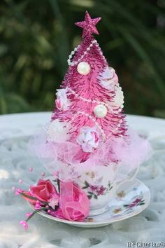 Shabby Cottage Chic Pink Bottle Brush Christmas Tree Vintage China CUP Saucer | eBay