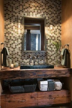 love the sink and counter and wire baskets for towels