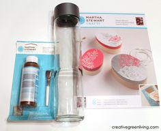 DIY  Etched Glass Water Bottle by Creative Green Living