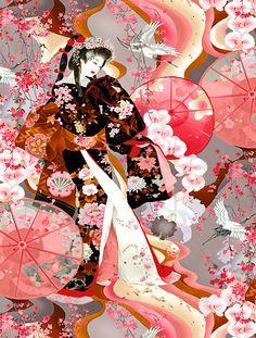 Michiko - Rainbow Geisha Dance - Quilt Fabrics from www.eQuilter.com