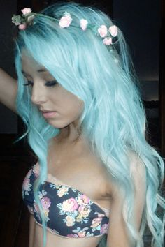 Pretty pastel blue hair with flower headband. I would never do this, but its pretty on her #hair #style #hairstyle #color #haircolor #colorful #women #girl #style #trend #fashion #long #blue
