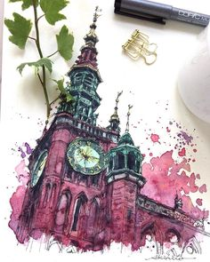 😍 Amazing Watercolor Paintings & Sketches by Akihito Horigome. Sketch Painting, Watercolor Sketch, Watercolor Illustration, Watercolor Flowers, Painting Art, Watercolor Architecture, Art And Architecture, Watercolor Artists, Watercolor Paintings