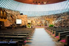 """""""Church of the Rock,"""" Temppeliaukio Church, Helsinki, Finland. Stuff To Do, Things To Do, Sound Engineer, Helsinki, The Rock, Finland, Night Life, Places Ive Been, Dolores Park"""