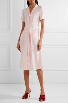 HVN - Maria Belted Printed Silk-satin Dress - Baby pink - US10