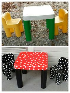 This was a 1991 little tikes table and chairs, a few cans of spray paint and a few hours later its a Minnie Mouse inspired table. Mickey Mouse Toys, Minnie Mouse, Little Tikes Makeover, Girls Furniture, Disney Classroom, Little Tykes, Kid Table, Big Girl Rooms, Disney Crafts