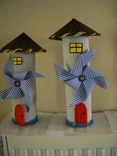 Paper roll houses with windmill (paper pinwheel) Paper Towel Roll Crafts, Toilet Paper Roll Crafts, Diy Paper, Summer Crafts, Diy And Crafts, Crafts For Kids, Arts And Crafts, Toilet Roll Craft, Art N Craft
