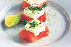 Das Rezept für Melone mit Feta mit allen nötigen Zutaten und der einfachsten Zubereitung - gesund kochen mit FIT FOR FUN