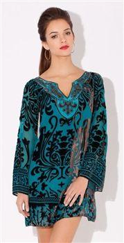 Hale Bob  Baroque Velvets Teal Silk Velvet Long Sleeve Dress