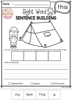 Free Sight Word Sentence Building has 10 pages of sentence building worksheets. This product will teach children to read, write and build sight sentences. Children are encouraged to use thinking skills while improving their comprehension and writing skills. These pages are great for morning work, word work and literacy centers. Preschool | Kindergarten | Kindergarten Worksheets | First Grade | Sight Word | Free Sight Word Sentence Building| Sight Word Pre-Primer | Free Lessons First Grade Freebies, Kindergarten Freebies, Preschool Kindergarten, Sight Word Sentences, Sight Words, Sentence Building, 2nd Grade Classroom, Thinking Skills, Writing Skills