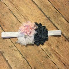 Headband white denim pink flowers baby girl #bowtifulblessings