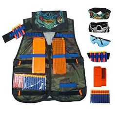 Aweoods Elite Tactical Vest Jacket Kit for Nerf N Strike Series, Black Black Tactical Vest, Darts For Sale, Christmas Gifts For Boys, Under Armour, Kit, Jackets, Nerf Gun, Bags, Stuff To Buy