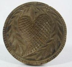 Antique 19thC HEART BUTTER STAMP AAFA Primitive Treen Folk Art press mold