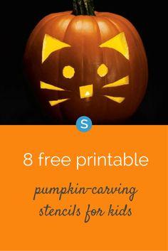 Free Halloween pumpkin stencil ideas for kids. Ideas include an owl, cat, flower, jack-o-lantern and more! Get them here: http://simplemost.com/8-free-printable-pumpkin-carving-stencils-for-kids?utm_campaign=social-account&utm_source=pinterest&utm_medium=organic&utm_content=pin-description