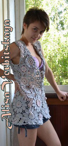 Vest SofiaIrish crochet. por AlisaSonya en Etsy