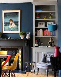 Navy Living Rooms, New Living Room, Home And Living, Dining Rooms, Alcove Ideas Living Room, Room Ideas, 1930s House Interior, Alcove Shelving, Blue Accent Walls