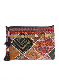 Java Coin Embroidered Boho Clutch    Necessary Clothing