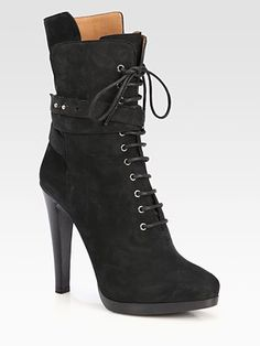 Giorgio Armani - Suede Lace-Up Platform Ankle Boots