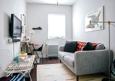 Interior Inspiration - Small Spaces | Mounting your TV to the wall is a good idea if you've got limited space... #theloungeco #lounge #smalllounge #smalllivingroom #smallsofa #compactsofa #2seatersofa #apartment #flat #sofa #snuggler